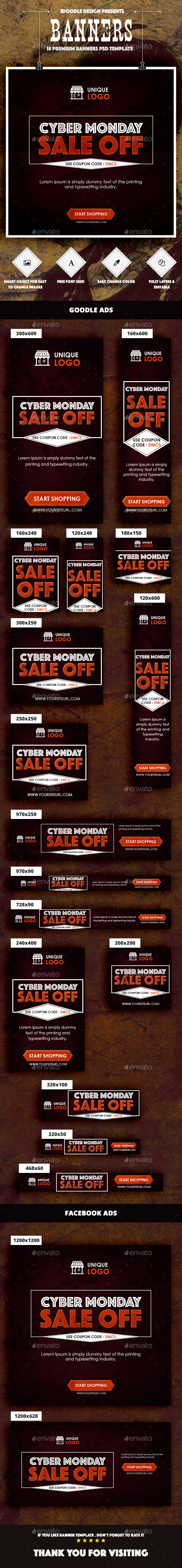 Cyber Monday Banners Ad - Banners & Ads Web Elements