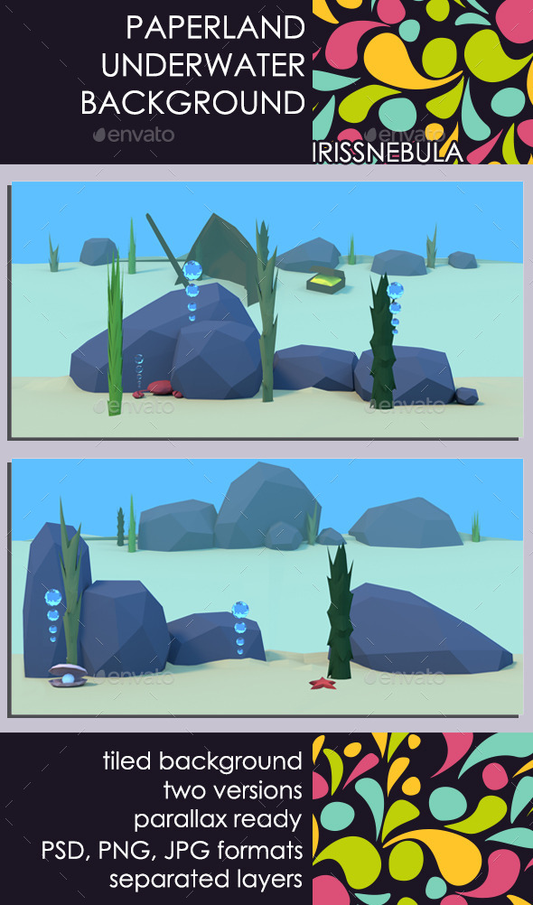 Paperland Underwater Game Background - Backgrounds Game Assets