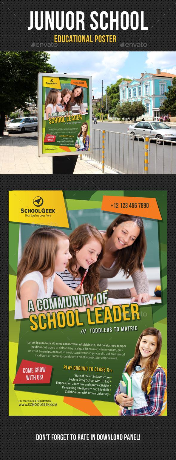Junior School Education Poster 01 - Signage Print Templates