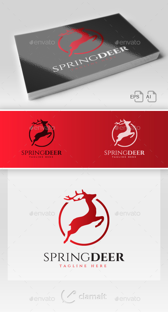 Spring Deer Logo - Animals Logo Templates