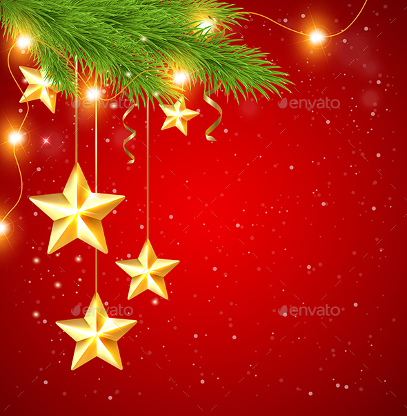Red Christmas Background with Stars - Christmas Seasons/Holidays