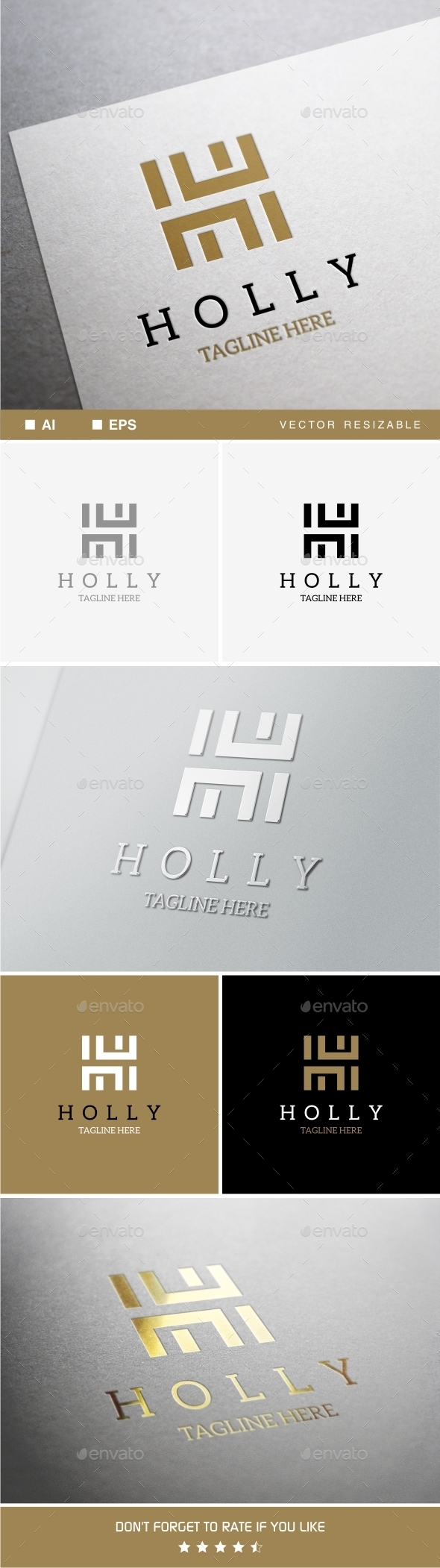 Holly - H Letter Logo Template - Letters Logo Templates