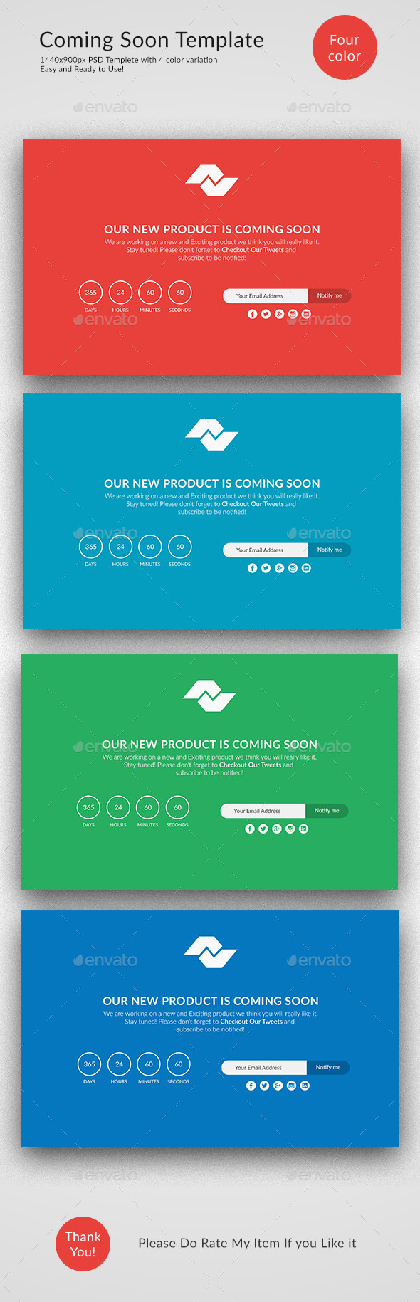 Flat Design Coming soon Page - 404 Pages Web Elements