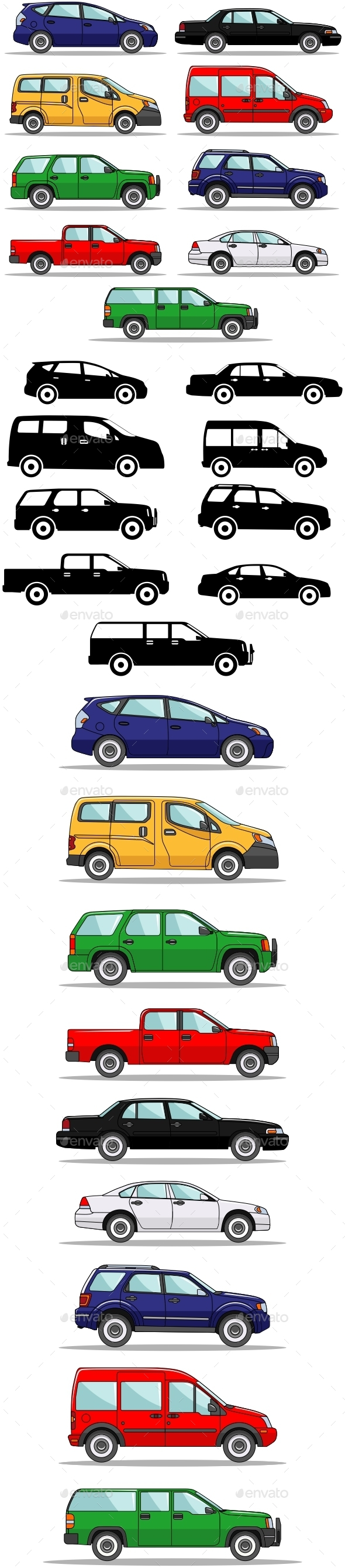 Set of Nine Cars - Man-made Objects Objects