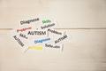 Autism words on wooden table shot in studio