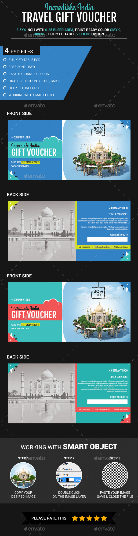 Incredible India Travel Gift Voucher - Loyalty Cards Cards & Invites