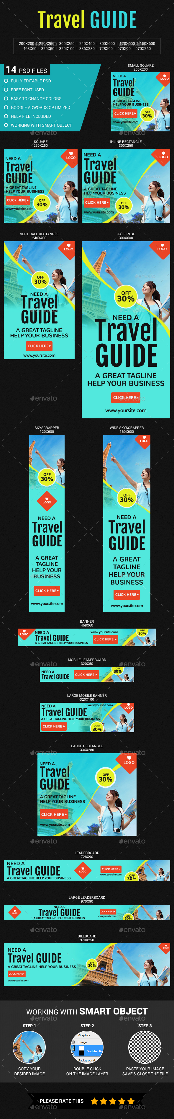 Travel Guide - Banners & Ads Web Elements