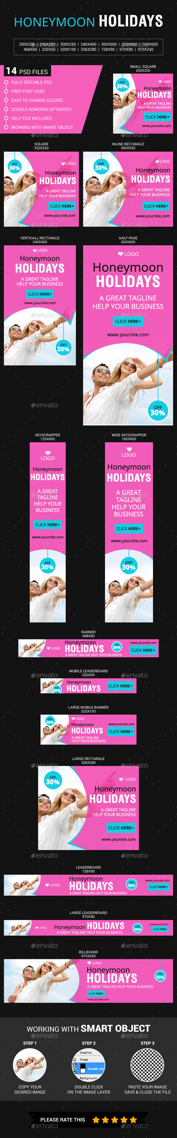 Honeymoon Holidays - Banners & Ads Web Elements