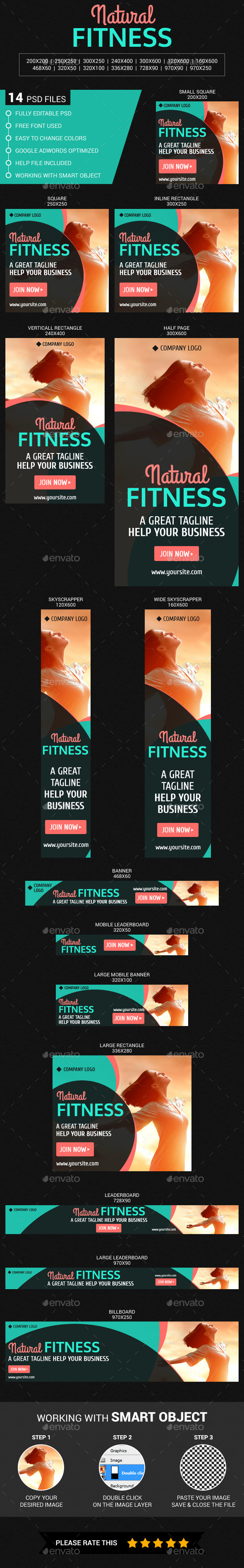Natural Fitness - Banners & Ads Web Elements