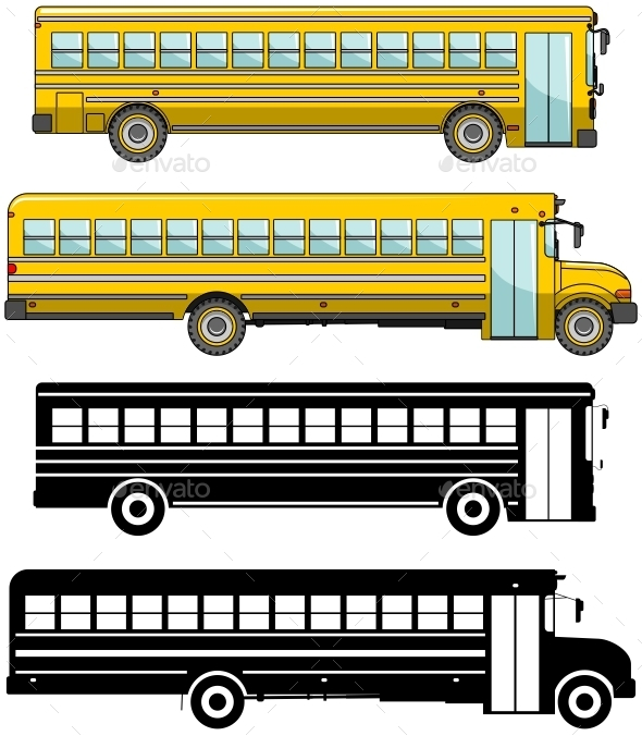 Colored and Silhouettes of School Buses - Man-made Objects Objects