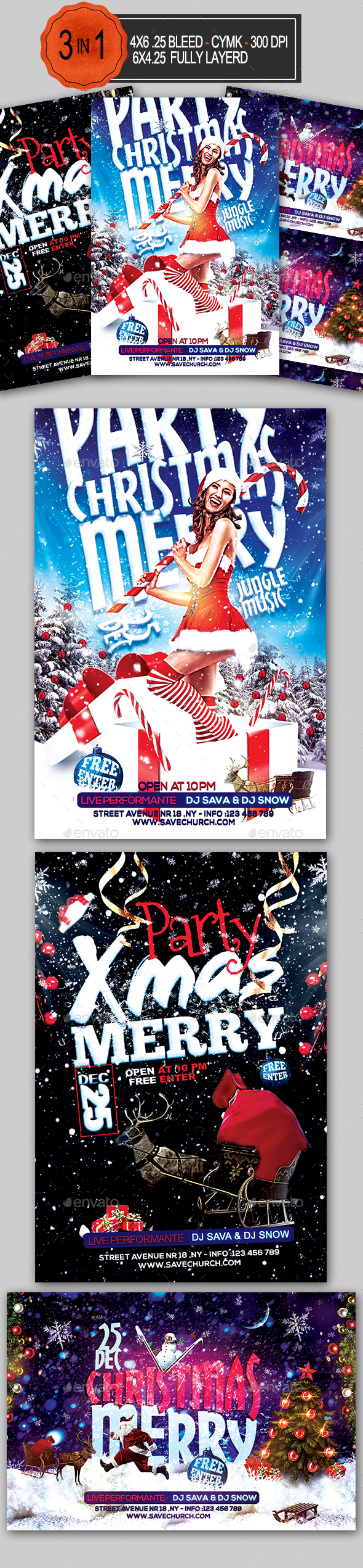 3in1 Christmas Party Flyer Bundle