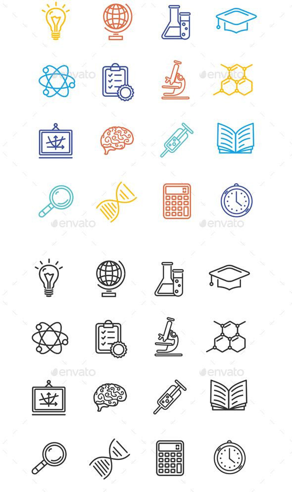 Science Outline Icons Set - Decorative Symbols Decorative