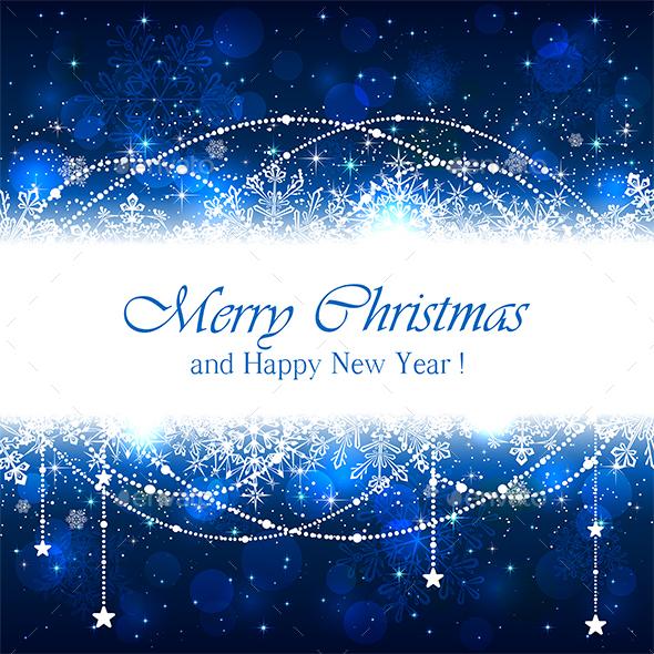 Blue Christmas Background with Snowflakes - Christmas Seasons/Holidays
