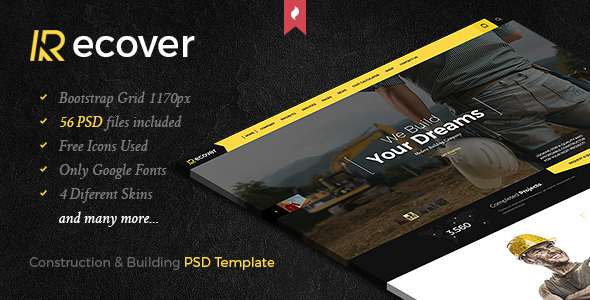 Recover – Construction & Building PSD Template