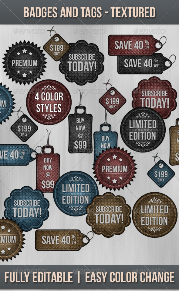 Badges and Tags - Textured - Badges & Stickers Web Elements