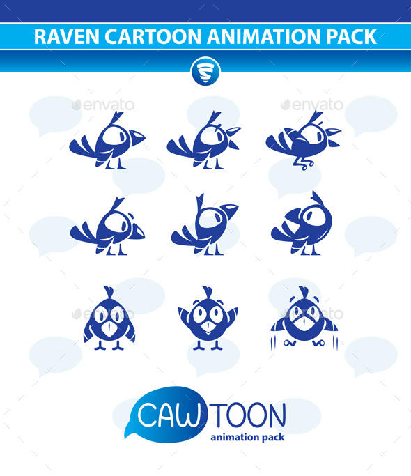 Raven Cartoon Animation Pack - Animals Characters