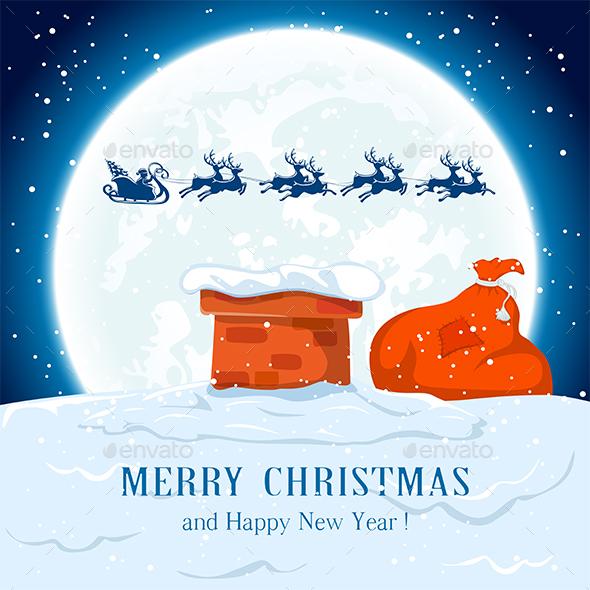 Santa Flies over the Roof - Christmas Seasons/Holidays