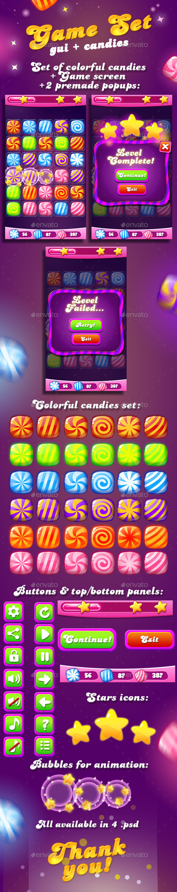 Candy Game Set for match3 + UI - Game Kits Game Assets
