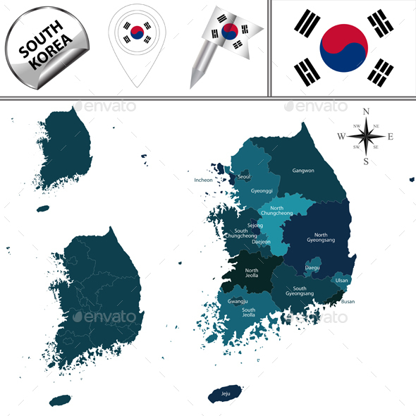 Map of South Korea - Travel Conceptual