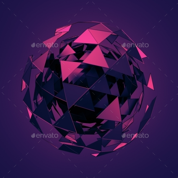 Low Poly Sphere With Chaotic Structure. - 3D Backgrounds