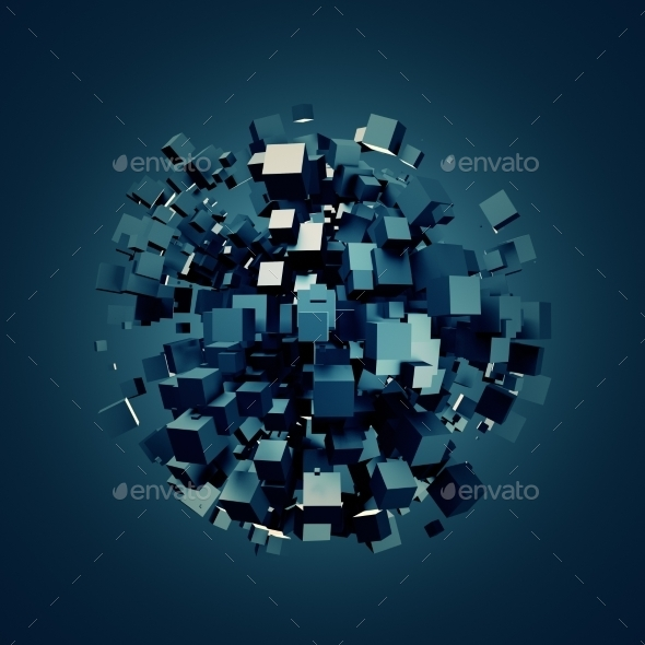 Abstract 3D Rendering Of Dark Cubes. - Abstract 3D Renders