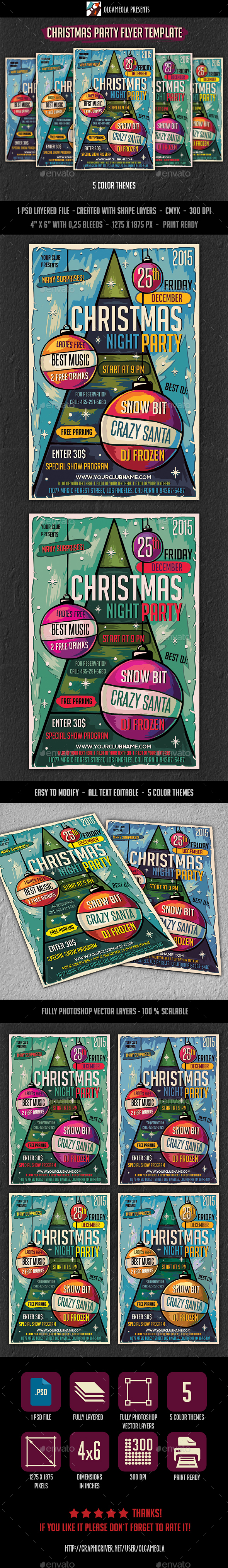 Christmas Night Party Flyer Template - Clubs & Parties Events