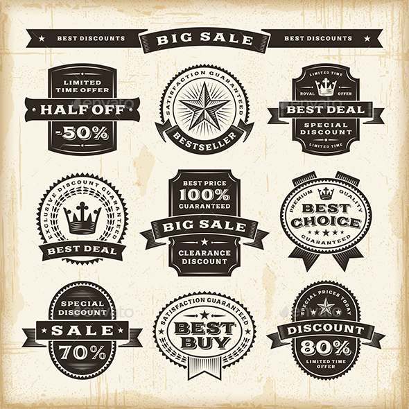 Vintage Sale Labels Set - Decorative Symbols Decorative