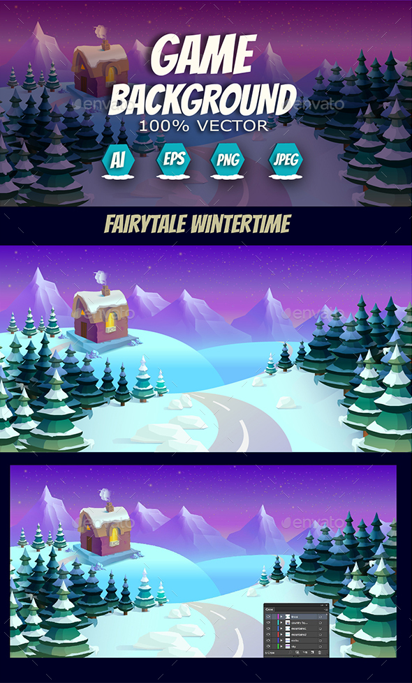 Fairytale Wintertime Game Background - Backgrounds Game Assets
