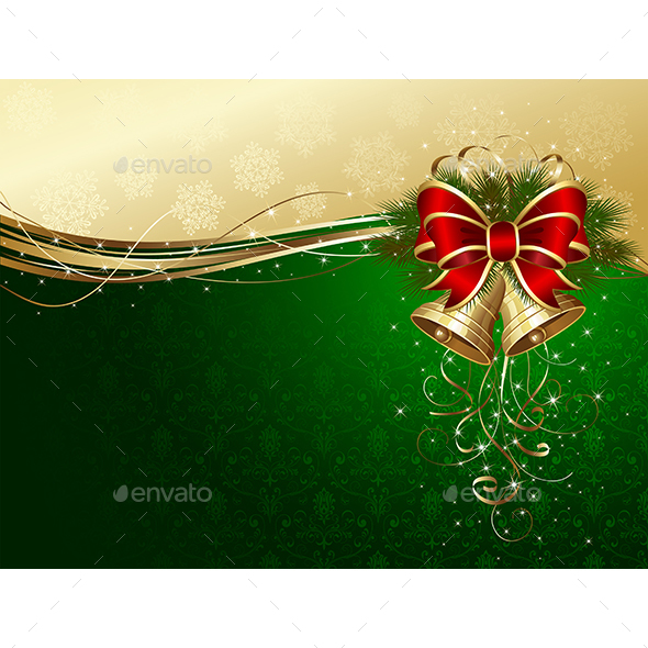 Christmas Background with Bells and Decorative Bow - Christmas Seasons/Holidays