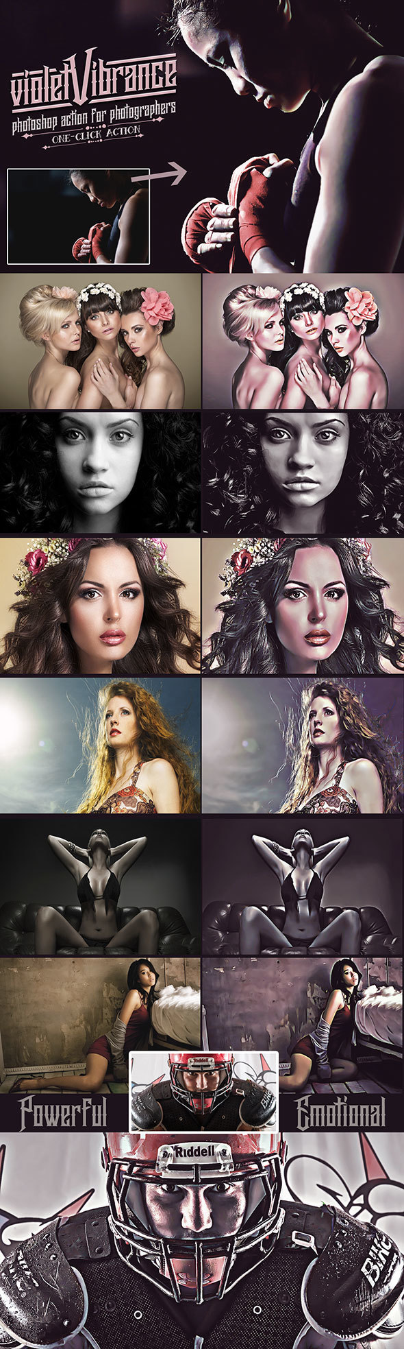 VioletVibrance Photoshop Portrait Actions - Photo Effects Actions