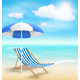 Beach with Sun Umbrella Chair and Clouds - GraphicRiver Item for Sale