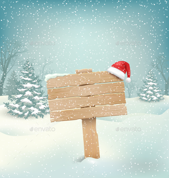 Winter with Wooden Signpost and Santa Hat - Seasons/Holidays Conceptual