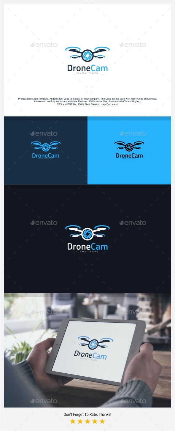 Drone Camera - Aerial Photo Logo - Objects Logo Templates