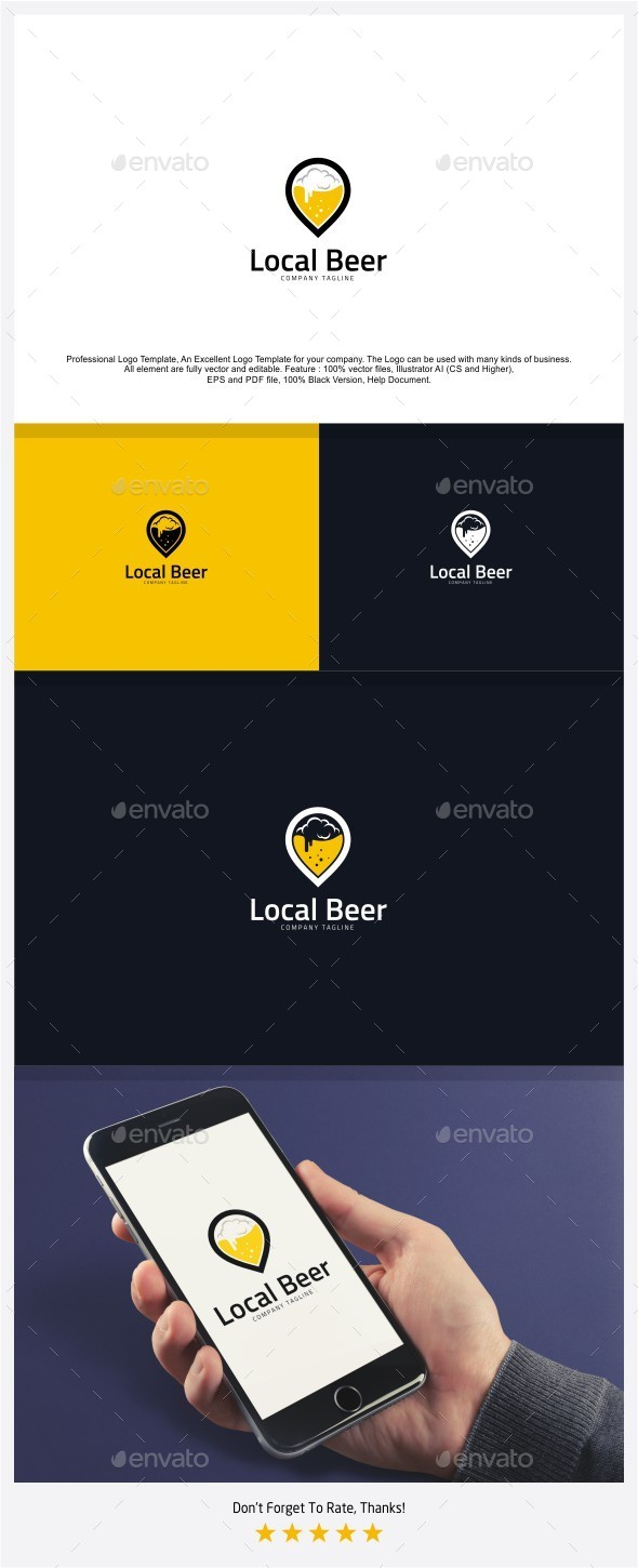 Local Beer - Beer Point Logo - Food Logo Templates