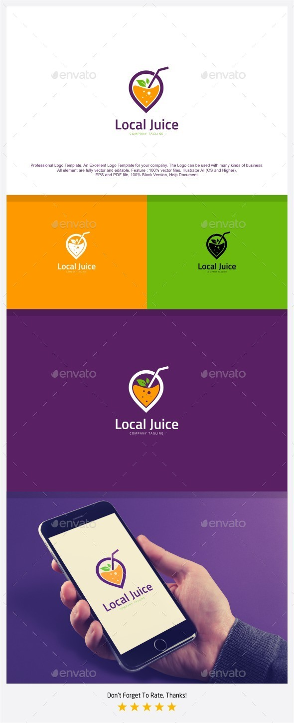 Local Juice - Juice Location Logo - Food Logo Templates