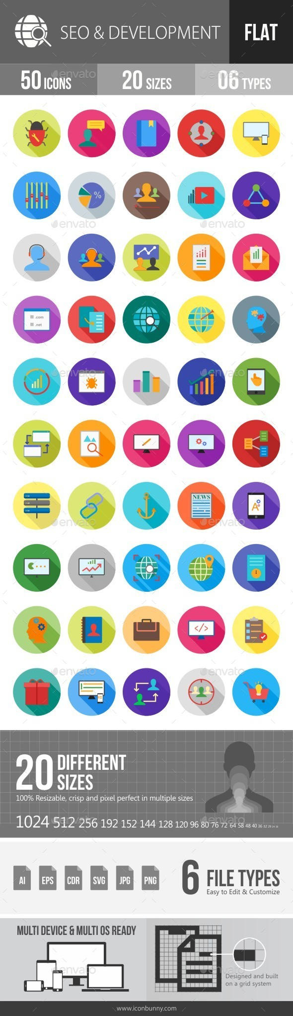 SEO & Development Services Flat Shadowed Icons - Icons