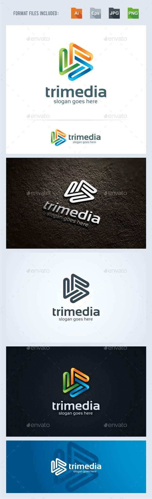 Trimedia - Abstract Logo Template - 3d Abstract