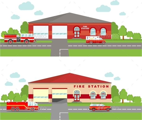 Fire Station Emergency Concept.  - Buildings Objects