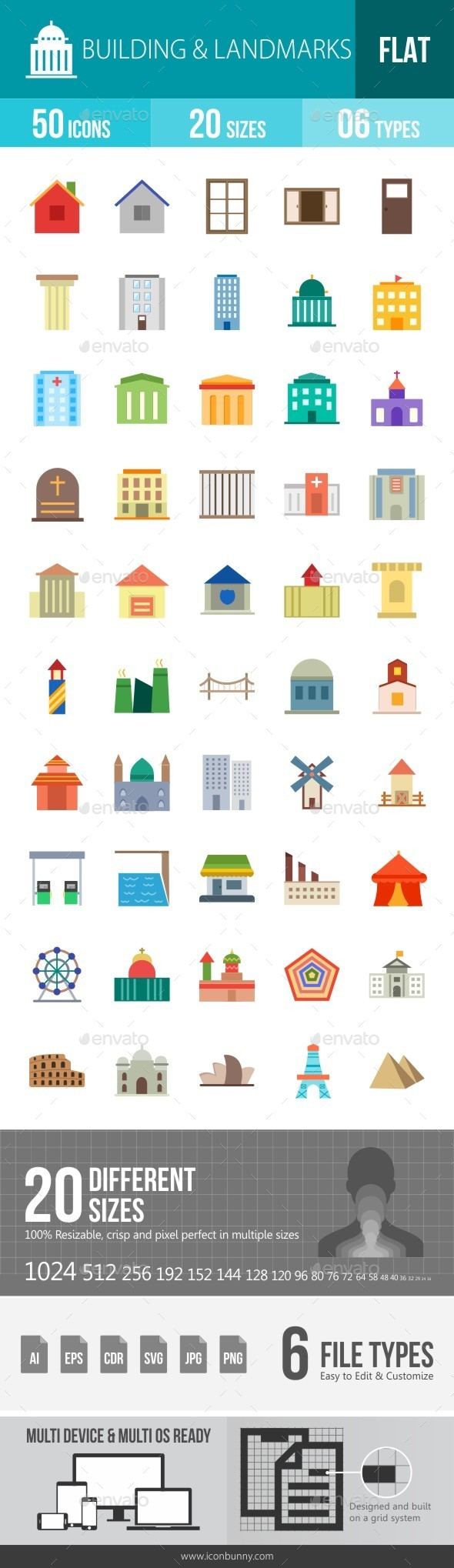 Building & Landmarks Flat Multicolor Icons - Icons