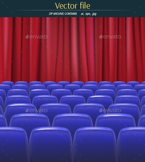 Hall with Empty Chairs and Red Curtain - Backgrounds Decorative