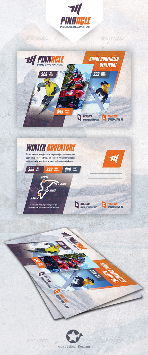 Winter Adventure Postcard Templates - Cards & Invites Print Templates