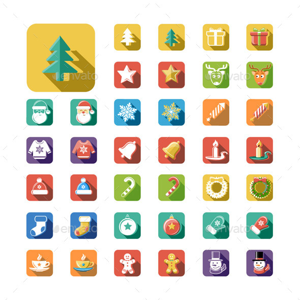 Christmas Flat Icons - Seasonal Icons