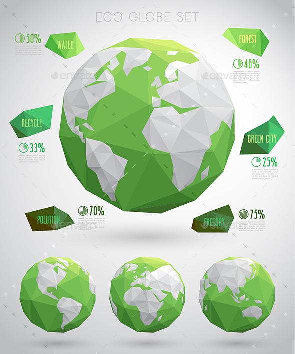 Set of Vector Eco Globes - Travel Conceptual
