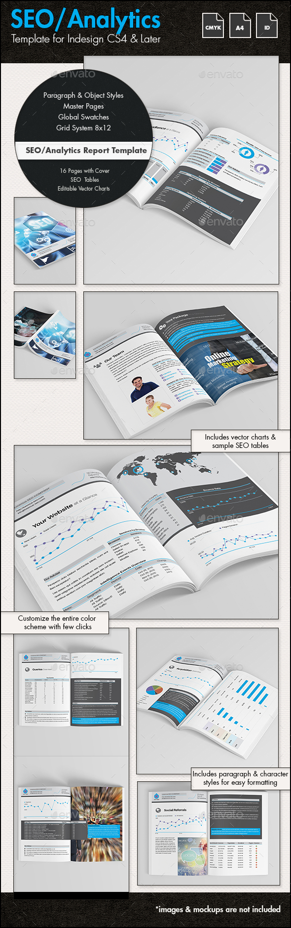 SEO Analytics Report Template - A4 Portrait by sthalassinos ...