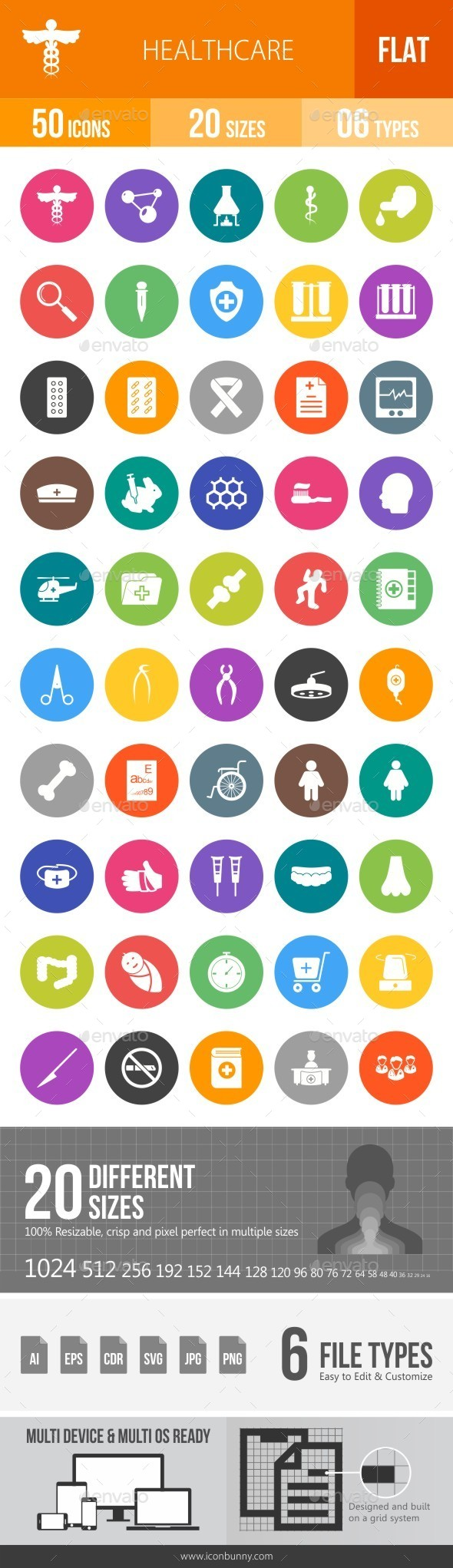 Healthcare Flat Round Icons - Icons
