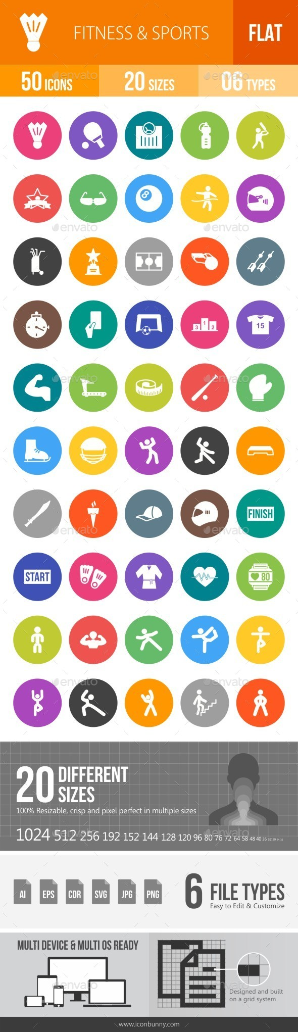 Fitness & Sports Flat Round Icons - Icons