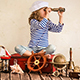 Happy Kid Playing With Nautical Vintage Toys - VideoHive Item for Sale