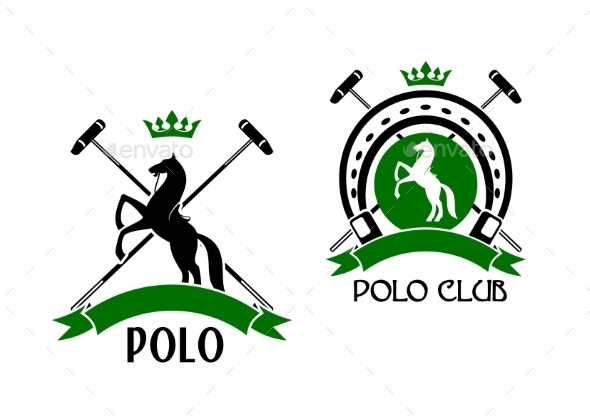 Polo Club Emblem with Horse and Sport Items - Sports/Activity Conceptual