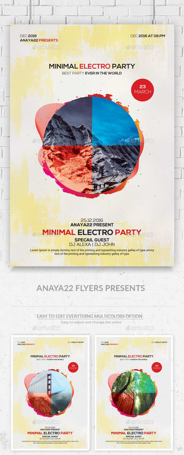 Minimal Hipster Party Flyer - Clubs & Parties Events