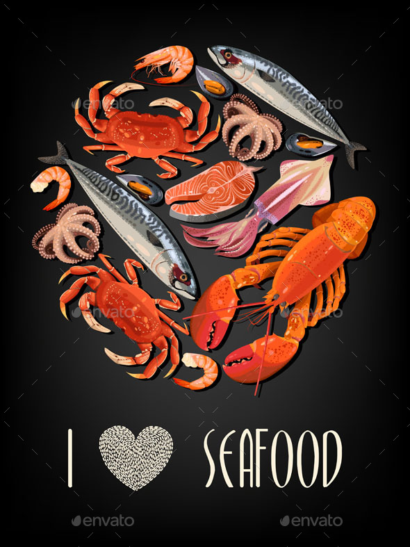 Seafood on Black Background - Food Objects